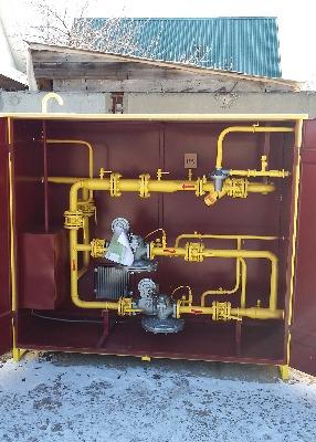 Газорегуляторный пункт шкафной ГРПШ-13-2НУ1 с регуляторами РДГ-50Н/30, с электрообогревом, с дополнительным отсеком под БПЭК-02/МТ, с катушкой под измерительный комплекс СГ-ЭКВз-Р-0, 5-250/1, 6 (1:160) ППД.