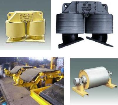 Железоотделитель электромагнитный подвесной, железоотделитель саморазгружающийся, железоотделитель шкивной (магнитный шкив, барабан), шкафы управления железоотделителями